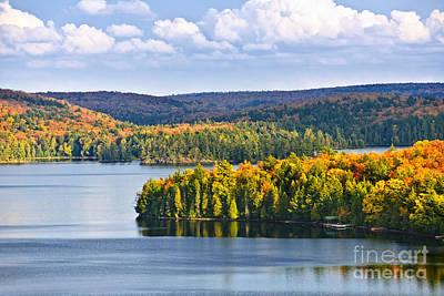 Christmas Christopher And Amanda Elwell - High view of fall forest and lake by Elena Elisseeva