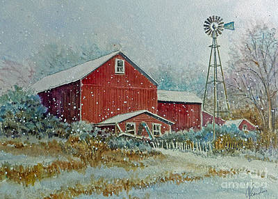 Art Print featuring the painting Farm In Winter by Louise Peardon