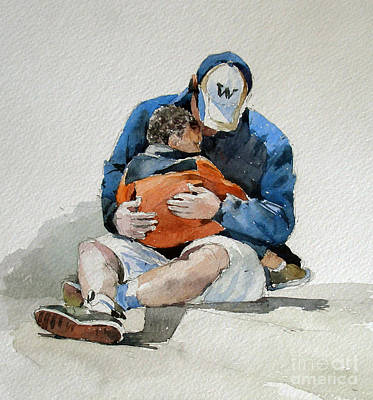 Watercolor Painting - Father And Son by Natalia Eremeyeva Duarte