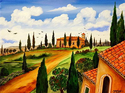 Art Print featuring the painting Fattoria Toscana by Roberto Gagliardi