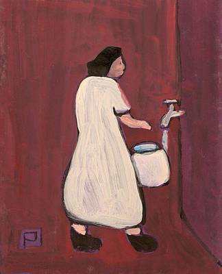 Folk Art Mixed Media - Fetching The Water by Peter  McPartlin