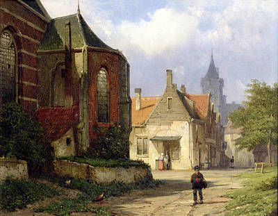 Brick Buildings Painting - Figure Before A Redbrick Church In A Dutch Town by Willem Koekkoek