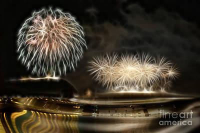 Fireworks In Budapest Art Print by Odon Czintos