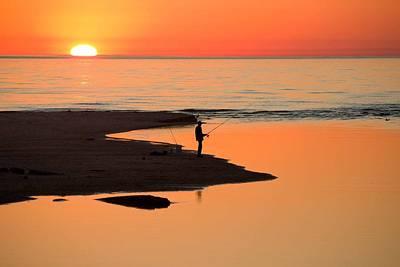 Fisherman At Sunset Art Print