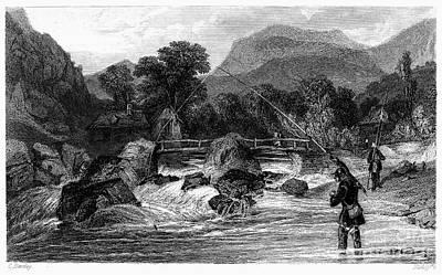 Fishing, 19th Century Art Print by Granger