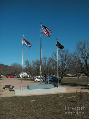 Civil War Battle Site Photograph - Flags With Blue Sky by Kip DeVore