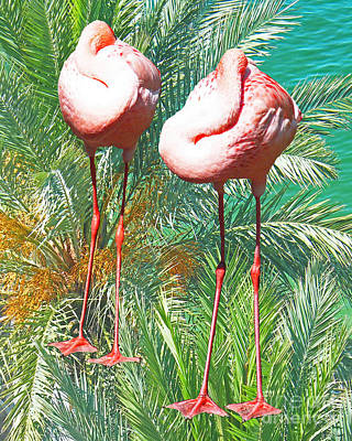 Digital Art - Flamingo Siesta by Lizi Beard-Ward