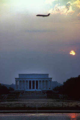 Mellow Yellow - Flight over Lincoln Memorial by Carl Purcell
