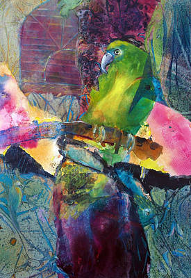 Amazon Parrot Painting - Flying Free by Lolly Owens