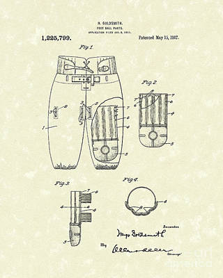 Pants Drawing - Football Pants 1917 Patent Art by Prior Art Design