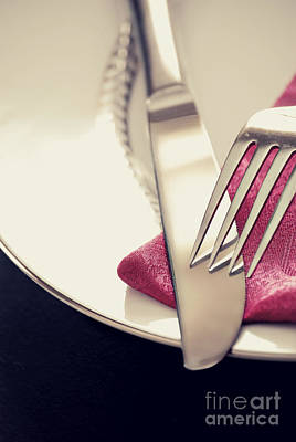 Dinner Table Photograph - Fork And Knife by HD Connelly