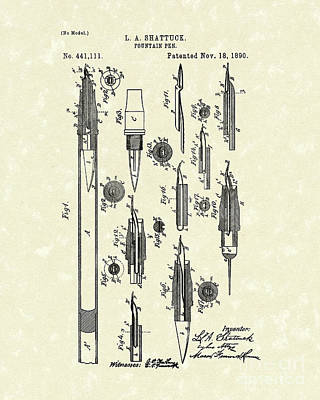 Fountain Pen Drawing - Fountain Pen 1890 Patent Art by Prior Art Design
