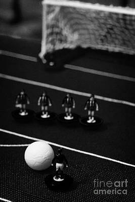Free Kick With Wall Of Players Football Soccer Scene Reinacted With Subbuteo Table Top Football  Art Print by Joe Fox