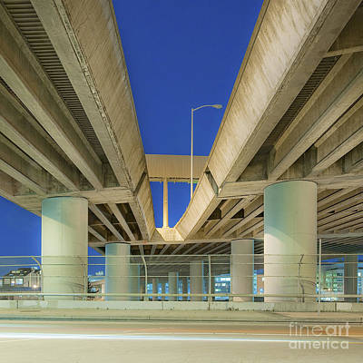 Freeway Overpass Support Structure At Night Art Print by Eddy Joaquim