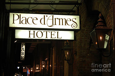 Gas Lamp Photograph - French Quarter Place Darmes Hotel Sign And Gas Lamps New Orleans by Shawn O'Brien