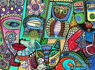 Frida's Garden Owl And Cat Art Print by Sandra Silberzweig