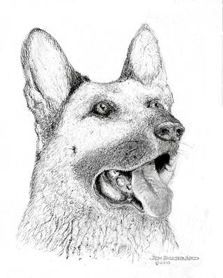 Art Print featuring the drawing German Shepherd Dog by Jim Hubbard