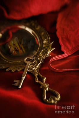 Photograph - Gilded Antique Mirror With Key On Red Velvet by Sandra Cunningham