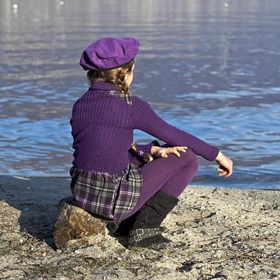 Girl At A Lake Art Print