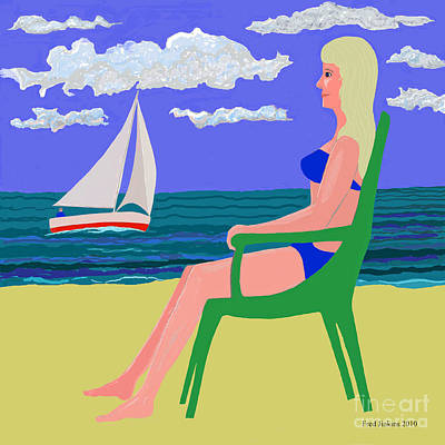 Girl At Beach Art Print