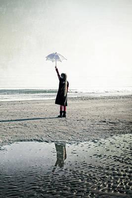 Girl On The Beach With Parasol Art Print by Joana Kruse