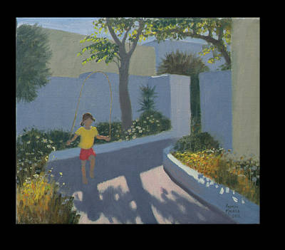 Mediterranean Village Painting - Girl Skipping by Andrew Macara