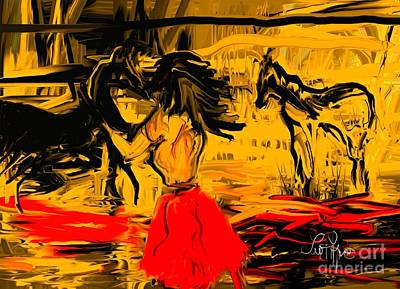 Art Print featuring the digital art Girl With Horses by Leo Symon