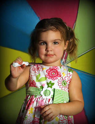 Photograph - Girl With Rainbow Umbrella by Sheila Kay McIntyre