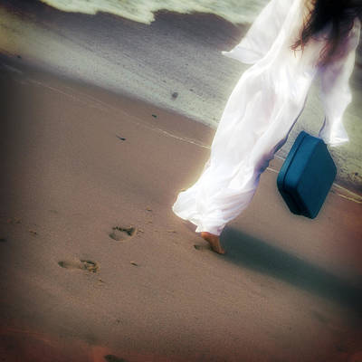 Sand Bags Photograph - Girl With Suitcase by Joana Kruse