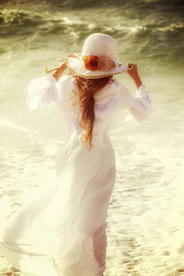 Girl With Sun Hat Art Print