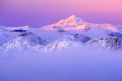 Glacier Peak Alpenglow - Purple Art Print by Misao  Okada