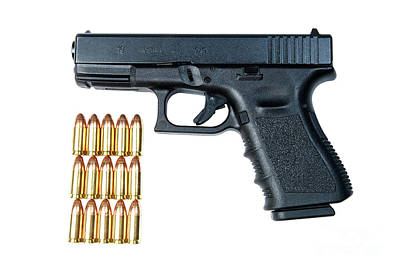 Self Shot Photograph - Glock Model 19 Handgun With 9mm by Terry Moore