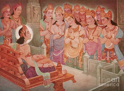 Jainism Wall Art - Photograph - Gods Entertaining Mahavira by Photo Researchers