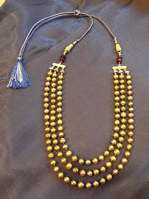 Delica Beads Jewelry - Gold Pearl Cord Necklace by Jan Durand