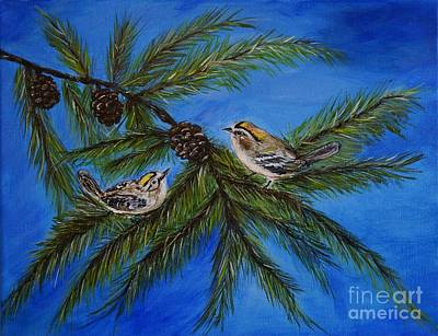 Painting - Golden Crowned Kinglets by Leslie Allen