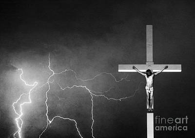 Good Friday - Crucifixion Of Jesus Bw Art Print by James BO  Insogna
