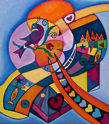 Good Luck Bird Distlefink  Art Print by Lori Miller