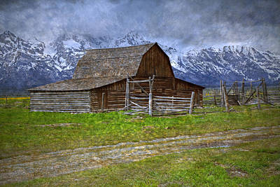 Photograph - Grand Teton Iconic Mormon Barn Fence Spring Storm Clouds by John Stephens