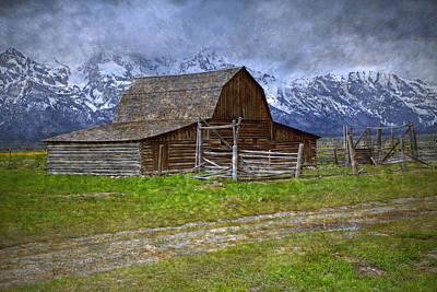 Grand Teton Iconic Mormon Barn Fence Spring Storm Clouds Art Print by John Stephens