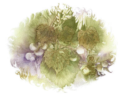 Grapeleaves Painting - Grapes Pastel Vignette by Elise Boam
