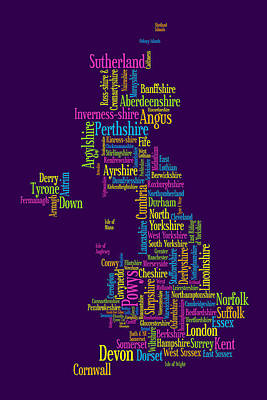 County Map Digital Art - Great Britain Uk County Text Map by Michael Tompsett