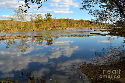 Washington D.c Digital Art - Great Falls Reflection On Potomac River In Virginia by Eva Kaufman