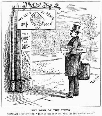 Grover Cleveland Cartoon Art Print by Granger
