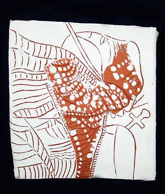 Sgrafittie Painting - Guardian Angel - Tile by Gloria Ssali