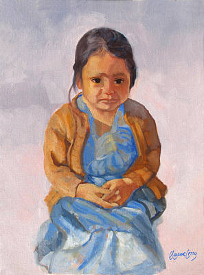 Painting - Guatemalan Girl In Blue Dress by Suzanne Cerny