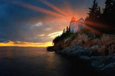 Bass Harbor Head Lighthouse Photograph - Guiding Light by Bernard Chen