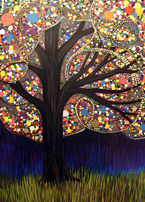 Art Print featuring the painting Gumball Tree 00053 by Monica Furlow