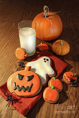 Halloween Cookies With A Glass Of Milk Art Print by Sandra Cunningham