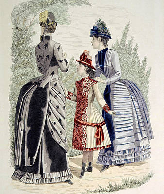 Hand-colored Engraving Of Two Women Art Print by Everett