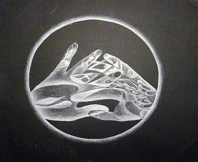 Drawing - Hands Of Light by Linda Pope